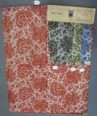 Onondaga Silk Company, Inc. (1925-1981). <em>Textile Swatches</em>, 1948-1959. silk; metal, largest component (a): 34 x 11 1/2 in. (86.4 x 29.2 cm). Brooklyn Museum, Gift of the Onondaga Silk Company, 64.130.84a-f (Photo: Brooklyn Museum, CUR.64.130.84a-d.jpg)