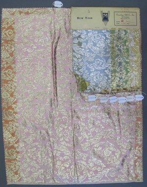 Onondaga Silk Company, Inc. (1925-1981). <em>Textile Swatches</em>, 1948-1959. 81% silk; 19% metal, largest component (a): 23 1/2 x 18 1/2 in. (59.7 x 47 cm). Brooklyn Museum, Gift of the Onondaga Silk Company, 64.130.86a-g (Photo: Brooklyn Museum, CUR.64.130.86a-g.jpg)