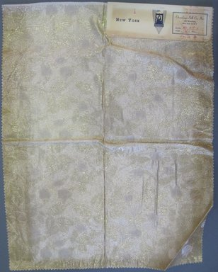 Onondaga Silk Company, Inc. (1925-1981). <em>Textile Swatches</em>, 1948-1959. 72% silk; 28% metal, 23 x 18 in. (58.4 x 45.7 cm). Brooklyn Museum, Gift of the Onondaga Silk Company, 64.130.87 (Photo: Brooklyn Museum, CUR.64.130.87.jpg)