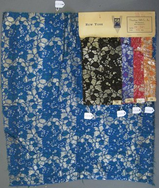 Onondaga Silk Company, Inc. (1925-1981). <em>Textile Swatches</em>, 1948-1959. 67% silk; 23% nylon; 10% metal, largest component (a): 21 x 18 in. (53.3 x 45.7 cm). Brooklyn Museum, Gift of the Onondaga Silk Company, 64.130.88a-e (Photo: Brooklyn Museum, CUR.64.130.88a-e.jpg)