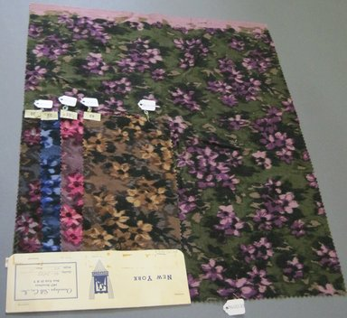Onondaga Silk Company, Inc. (1925-1981). <em>Textile Swatches</em>, 1948-1959. cotton, largest component (a): 21 x 18 in. (53.3 x 45.7 cm). Brooklyn Museum, Gift of the Onondaga Silk Company, 64.130.98a-e (Photo: Brooklyn Museum, CUR.64.130.98a-e.jpg)