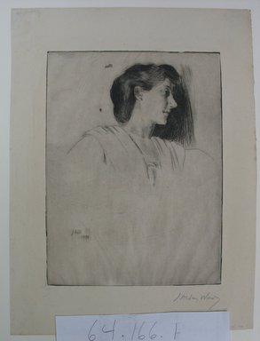Julian Alden Weir (American, 1852-1919). <em>Study of a Woman's Head in Profile</em>, 1890. Drypoint on wove paper, Sheet: 11 3/16 x 8 3/8 in. (28.4 x 21.3 cm). Brooklyn Museum, Gift of Joseph S. Gotlieb, 64.166.1 (Photo: Brooklyn Museum, CUR.64.166.1.jpg)