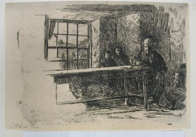 Julian Alden Weir (American, 1852-1919). <em>Fisherman's Hut - Interior - Isle of Man</em>, 1889. Etching on laid paper, 4 7/8 x 7 in. (12.4 x 17.8 cm). Brooklyn Museum, Gift of Joseph S. Gotlieb, 64.166.2 (Photo: Brooklyn Museum, CUR.64.166.2.jpg)