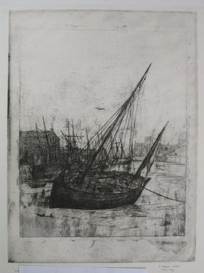 Julian Alden Weir (American, 1852-1919). <em>Boats at Peel - Isle of Man</em>, 1889. Etching on laid paper, Sheet: 15 9/16 x 10 1/4 in. (39.5 x 26 cm). Brooklyn Museum, Gift of Joseph S. Gotlieb, 64.166.3 (Photo: Brooklyn Museum, CUR.64.166.3.jpg)