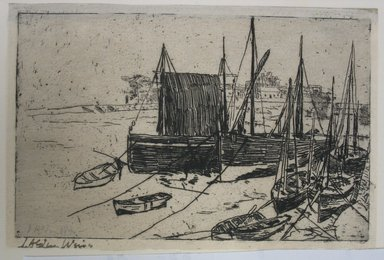 Julian Alden Weir (American, 1852-1919). <em>Boats at Port Erin - Isle of Man</em>, 20th century. Etching on laid paper, Sheet: 3 15/16 x 5 15/16 in. (10 x 15.1 cm). Brooklyn Museum, Gift of Joseph S. Gotlieb, 64.166.4 (Photo: Brooklyn Museum, CUR.64.166.4.jpg)