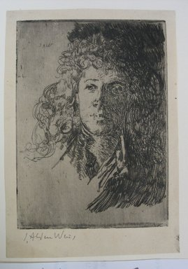 Julian Alden Weir (American, 1852-1919). <em>Portrait of a Girl</em>, 20th century. Etching on wove paper, Sheet: 6 3/8 x 4 7/16 in. (16.2 x 11.3 cm). Brooklyn Museum, Gift of Joseph S. Gotlieb, 64.166.6 (Photo: Brooklyn Museum, CUR.64.166.6.jpg)