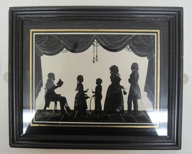 Copy of August Edouart (French, 1789-1861). <em>Silhouette of Family Group (5 Figures)</em>, ca. late 19th century. Paint on glass, framed size: 8 3/4 x 10 3/4 in. (22.2 x 27.3 cm). Brooklyn Museum, Gift of the Estate of Emily Winthrop Miles, 64.195.101 (Photo: Brooklyn Museum, CUR.64.195.101.jpg)