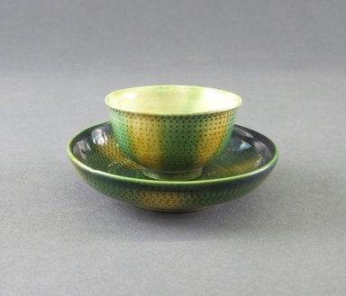 Attributed to Thomas Whieldon (1719-1795). <em>Four Miniature Cups and Saucers</em>, ca. 1750. Whieldon, glaze, Cup: 1 x 1 3/4 in. (2.5 x 4.4 cm). Brooklyn Museum, Gift of the Estate of Emily Winthrop Miles, 64.195.17a-b. Creative Commons-BY (Photo: Brooklyn Museum, CUR.64.195.17a-b_view2.jpg)