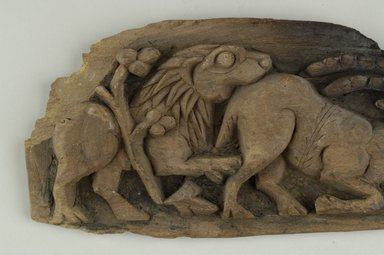 Coptic. <em>Lion Attacking Antelope</em>, 4th-6th century C.E. (possibly). Wood, 4 1/2 x 12 3/8 x 13/16 in. (11.5 x 31.4 x 2 cm). Brooklyn Museum, Charles Edwin Wilbour Fund, 64.197.2. Creative Commons-BY (Photo: Brooklyn Museum (in collaboration with Index of Christian Art, Princeton University), CUR.64.197.2_detail01_ICA.jpg)