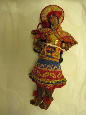 Quechua. <em>Doll</em>. Cotton, leather, sequins, beads, Height: 6 5/16 in. (16 cm). Brooklyn Museum, Gift of Dr. Werner Muensterberger, 64.210.19. Creative Commons-BY (Photo: Brooklyn Museum, CUR.64.210.19.jpg)