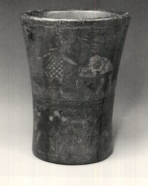 Inca. <em>Ceremonial Beaker or Kero</em>, late 16th-17th century. Wood, resin, pigments, 6 1/2 x 5 1/8 in. Brooklyn Museum, Gift of Dr. Werner Muensterberger, 64.210.3. Creative Commons-BY (Photo: Brooklyn Museum, CUR.64.210.3.jpg)