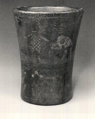 Inca. <em>Ceremonial Beaker or Kero</em>, late 16th-17th century. Wood, resin, pigments, 6 1/2 x 5 1/8 in. Brooklyn Museum, Gift of Dr. Werner Muensterberger, 64.210.3. Creative Commons-BY (Photo: Brooklyn Museum, CUR.64.210.3.jpg)