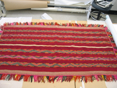 Possibly Quechua. <em>Poncho</em>. Camelid fiber?, wool?, 41 1/2 x 72 in. (105.4 x 182.9 cm). Brooklyn Museum, Gift of Dr. Werner Muensterberger, 64.210.6. Creative Commons-BY (Photo: Brooklyn Museum, CUR.64.210.6.jpg)