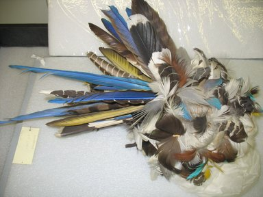 Karaja. <em>Headdress</em>, 20th century. Feathers (brown, white, blue, yellow), plant fibers, 15 x 15 in. (38.1 x 38.1 cm). Brooklyn Museum, A. Augustus Healy Fund, 64.214.1. Creative Commons-BY (Photo: Brooklyn Museum, CUR.64.214.1_view2.jpg)