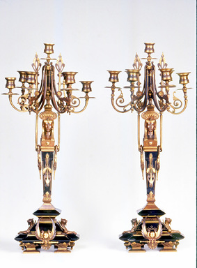 <em>Candelabra</em>, ca. 1870. Bronze, black marble, 26 1/2 x 11 1/2 x 11 3/4 in.  (67.3 x 29.2 x 29.8 cm). Brooklyn Museum, Anonymous gift, 64.241.106. Creative Commons-BY (Photo: Brooklyn Museum, CUR.64.241.106.jpg)