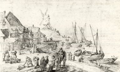 Attributed to Jan Brueghel. <em>Harbor Scene with Windmill</em>. Brown ink, black ink and wash on paper, 6 3/4 x 11 1/8 in. (17.1 x 28.3 cm). Brooklyn Museum, Gift of Isabel Shults, 64.266 (Photo: Brooklyn Museum, CUR.64.266.jpg)