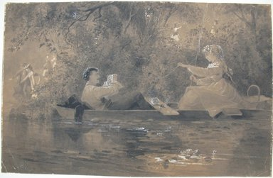John Steeple Davis (American, 1844-1917). <em>Two Figures in a Punt with Foliage Background</em>, ca. 1905. Wash with Chinese white on paper, Sheet: 11 11/16 x 18 1/4 in. (29.7 x 46.4 cm). Brooklyn Museum, Gift of the Estate of William Steeple Davis, 64.53 (Photo: Brooklyn Museum, CUR.64.53.jpg)