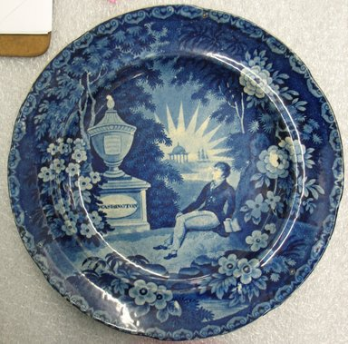 <em>Plate (blue)</em>, ca. 1830. Earthenware, 1 x 10 x 10 in. (2.5 x 25.4 x 25.4 cm). Brooklyn Museum, Gift of the Estate of Emily Winthrop Miles, 64.82.258. Creative Commons-BY (Photo: Brooklyn Museum, CUR.64.82.258.jpg)