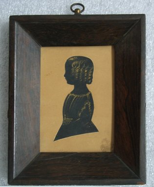 Unknown. <em>Silhouette of a Boy (Walter)</em>, ca. 1840. Painted paper cutout with gold accents mounted to wove paperboard in rosewood frame, Image (sight): 3 5/8 x 2 1/2 in. (9.2 x 6.4 cm). Brooklyn Museum, Gift of the Estate of Emily Winthrop Miles, 64.82.415 (Photo: Brooklyn Museum, CUR.64.82.415.jpg)