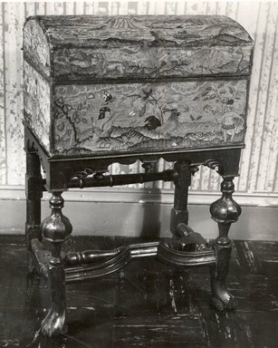 <em>Box on Turned Table Base</em>, ca. 1710-1730. Walnut, 31 1/2 x 19 1/2 x 13 1/4 in. (80 x 49.5 x 33.7 cm). Brooklyn Museum, Gift of Mr. and Mrs. Daniel L. Silberberg, 64.85.7. Creative Commons-BY (Photo: , CUR.64.85.7_print_bw.jpg)