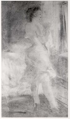 Everett Shinn (American, 1876-1953). <em>Girl in Front of a Dressing Table</em>, 1910. Pastel on paper mounted on paper, 11 3/4 x 7 9/16 in. (29.8 x 19.2 cm). Brooklyn Museum, Gift of Daniel and Rita Fraad, Jr., 65.204.11 (Photo: Brooklyn Museum, CUR.65.204.11.jpg)