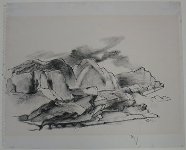 John Edward Heliker (American, 1909-2000). <em>Cliffs</em>, ca. 1960. Ink on paper, sheet: 13 7/8 x 16 15/16 in. (35.2 x 43 cm). Brooklyn Museum, Gift of Daniel and Rita Fraad, Jr., 65.260.1. © artist or artist's estate (Photo: Brooklyn Museum, CUR.65.260.1.jpg)
