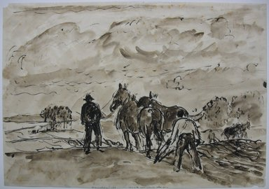 Gifford Reynolds Beal (American, 1879-1956). <em>Ploughing - Pigeon Cove</em>, n.d. Ink and wash on wove paper, Sheet: 10 1/4 x 14 3/4 in. (26 x 37.5 cm). Brooklyn Museum, Gift of Daniel and Rita Fraad, Jr., 65.260.2. © artist or artist's estate (Photo: Brooklyn Museum, CUR.65.260.2.jpg)