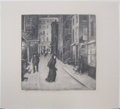 Glenn O. Coleman (American, 1884-1932). <em>Minetta Lane</em>, 1928. Lithograph on wove paper, Image: 11 1/8 x 10 7/8 in. (28.3 x 27.6 cm). Brooklyn Museum, Gift of Mr. and Mrs. William Zorach, 65.64.1 (Photo: Brooklyn Museum, CUR.65.64.1.jpg)