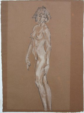 Arthur B. Davies (American, 1862-1928). <em>Standing Nude</em>, n.d. Charcoal and white chalk on paper, Sheet: 18 x 13 5/16 in. (45.7 x 33.8 cm). Brooklyn Museum, Gift of Mrs. Granville S. Carrel, 66.131. © artist or artist's estate (Photo: Brooklyn Museum, CUR.66.131.jpg)