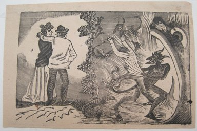 Jose Guadelupe Posada (Mexican, 1852-1913). <em>Example: A Man Possessed by the Devil because of Jealousy</em>. Relief engraving on type metal, 3 1/2 x 5 1/4 in. (8.9 x 13.3 cm). Brooklyn Museum, Gift of Wilfred P. Cohen, 66.132.4 (Photo: Brooklyn Museum, CUR.66.132.4.jpg)