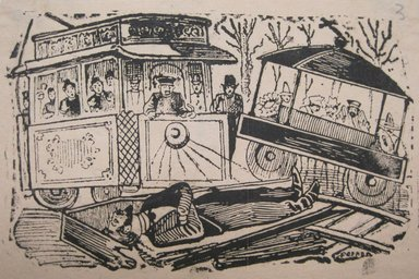 Jose Guadelupe Posada (Mexican, 1852-1913). <em>A Collison Between a Streetcar and a Hearse at the Station of Delores</em>. Relief engraving on type metal, 3 3/4 x 5 3/4 in. (9.5 x 14.6 cm). Brooklyn Museum, Gift of Wilfred P. Cohen, 66.132.5 (Photo: Brooklyn Museum, CUR.66.132.5.jpg)