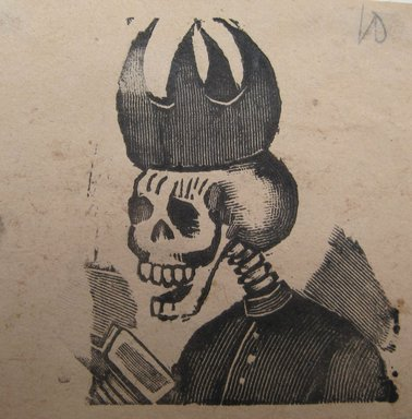"""Jose Guadelupe Posada (Mexican, 1852-1913). <em>Calavera """"Clerical.""""</em> . Relief engraving on wove paper , 2 15/16 × 3 3/8 in. (7.5 × 8.6 cm). Brooklyn Museum, Gift of Wilfred P. Cohen, 66.132.9 (Photo: Brooklyn Museum, CUR.66.132.9.jpg)"""