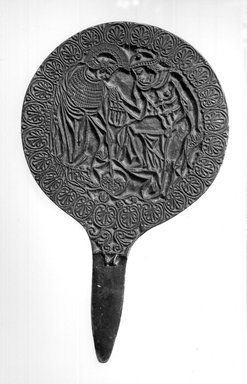 <em>Decorated Mirror with Tongue-Shaped Handle</em>, 19th century C.E. Bronze, 6 5/16 x 10 7/16 in. length (16 x 26.5 cm). Brooklyn Museum, Gift of Mr. and Mrs. Milton J. Lowenthal, 66.226. Creative Commons-BY (Photo: Brooklyn Museum, CUR.66.226_NegA_print_bw.jpg)