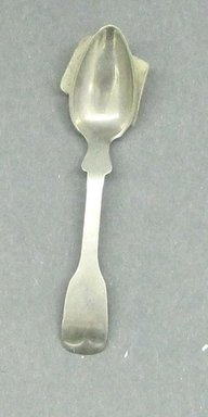 <em>Child's Spoon</em>, ca.1880. White metal, 2 5/8 in. (6.7 cm). Brooklyn Museum, Gift of Amelia Beard Hollenback, 66.25.37. Creative Commons-BY (Photo: Brooklyn Museum, CUR.66.25.37.jpg)