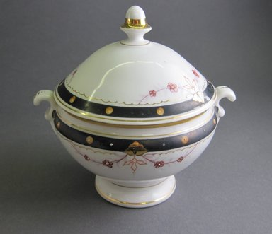 <em>Child's Tureen and Cover</em>, ca.1880. Porcelain, 5 1/4 x 3 7/8 in. (13.3 x 9.8 cm). Brooklyn Museum, Gift of Amelia Beard Hollenback, 66.25.8a-b. Creative Commons-BY (Photo: Brooklyn Museum, CUR.66.25.8a-b.jpg)