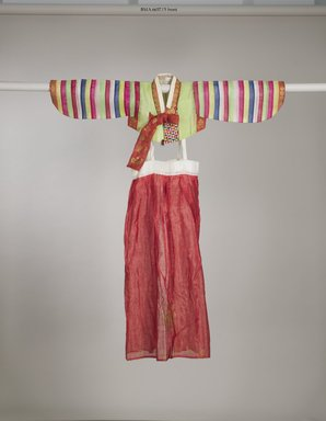 <em>Child's Jacket (Saekdong Jeogori) and Skirt</em>, ca. 1960. Silk, gauze, Jacket: 10 1/2 x 13 3/4 in. (26.7 x 35 cm), sleeve length: 21 1/16 in. (53.5 cm). Brooklyn Museum, Gift of Mrs. Jesse Orrick, 66.57.5a-b. Creative Commons-BY (Photo: Brooklyn Museum (in collaboration with National Research Institute of Cultural Heritage, , CUR.66.57.5a-b_front_Collins_photo_NRICH.jpg)