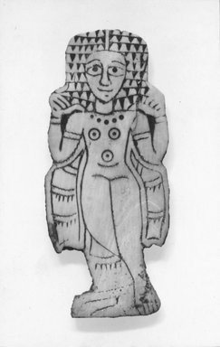 Nubian. <em>Inlay in the Form of a Woman</em>, 350-450 C.E. Ivory, 3 1/8 x 1 3/8 (7.9 x 3.5). Brooklyn Museum, Charles Edwin Wilbour Fund, 66.66.2. Creative Commons-BY (Photo: Brooklyn Museum, CUR.66.66.2_negA_print_bw.jpg)