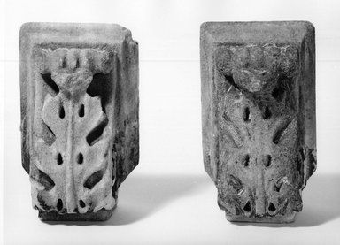 Joseph F. Mangin (French). <em>Pair of Corbels from City Hall, Manhattan</em>, ca. 1811. Marble, 8 x 5 x 4 1/2 in. (20.3 x 12.7 x 11.4 cm). Brooklyn Museum, Gift of William B. Schlefer, 66.82.1-.2. Creative Commons-BY (Photo: Brooklyn Museum, CUR.66.82.1-.2_top.jpg)