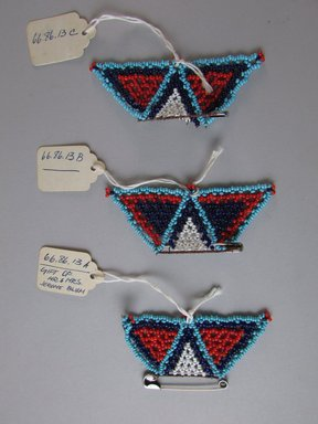 Possibly Zulu. <em>Three Brooches</em>, early to mid 20th century. Glass beads, safety pin, 3 1/2 x 1 3/4in. (8.9 x 4.4cm). Brooklyn Museum, Gift of Mr. and Mrs. Jerome Blum, 66.86.13a-c. Creative Commons-BY (Photo: Brooklyn Museum, CUR.66.86.13a-c.jpg)