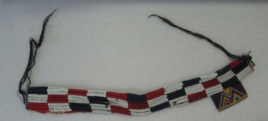 Possibly Zulu. <em>Girdle with Pubic Panel</em>, mid-20th century. Glass seed beads, fabric, fiber, 29 3/4 x 3 3/4 in. (75.6 x 9.5 cm). Brooklyn Museum, Gift of Mr. and Mrs. Jerome Blum, 66.86.4. Creative Commons-BY (Photo: Brooklyn Museum, CUR.66.86.4_overall.jpg)