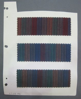 Fab-Tex Inc.. <em>Fabric Swatch</em>, 1963-1966. Cotton, sheet: 8 1/4 x 10 1/2 in. (21 x 26.7 cm). Brooklyn Museum, Gift of Fab-Tex Inc., 67.158.106 (Photo: Brooklyn Museum, CUR.67.158.106.jpg)