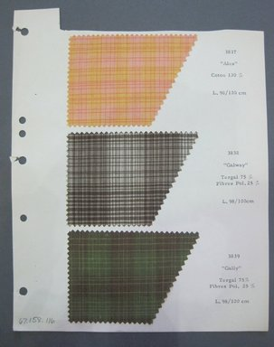 Fab-Tex Inc.. <em>Fabric Swatch</em>, 1963-1966. Cotton and cotton with synthetic blend, sheet: 8 1/4 x 10 1/2 in. (21 x 26.7 cm). Brooklyn Museum, Gift of Fab-Tex Inc., 67.158.116 (Photo: Brooklyn Museum, CUR.67.158.116.jpg)