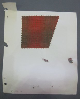 Fab-Tex Inc.. <em>Fabric Swatch</em>, 1963-1966. Wool, sheet: 8 1/4 x 10 1/2 in. (21 x 26.7 cm). Brooklyn Museum, Gift of Fab-Tex Inc., 67.158.117 (Photo: Brooklyn Museum, CUR.67.158.117.jpg)