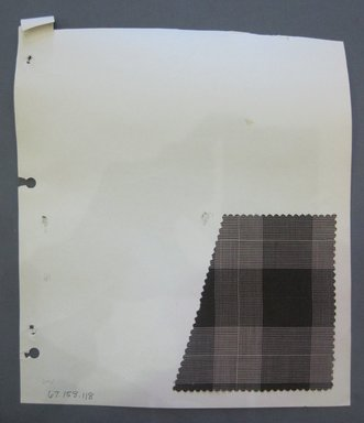 Fab-Tex Inc.. <em>Fabric Swatch</em>, 1963-1966. Synthetic (possibly cotton blend), sheet: 8 1/4 x 10 1/2 in. (21 x 26.7 cm). Brooklyn Museum, Gift of Fab-Tex Inc., 67.158.118 (Photo: Brooklyn Museum, CUR.67.158.118.jpg)