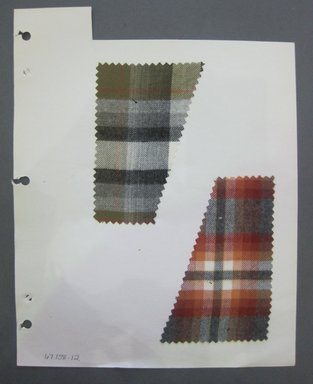 Fab-Tex Inc.. <em>Fabric Swatch</em>, 1963-1966. Cotton, sheet: 8 1/4 x 10 1/2 in. (21 x 26.7 cm). Brooklyn Museum, Gift of Fab-Tex Inc., 67.158.12 (Photo: Brooklyn Museum, CUR.67.158.12.jpg)