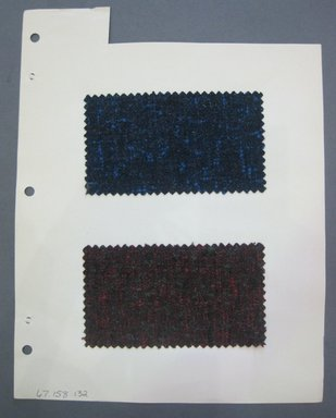 Fab-Tex Inc.. <em>Fabric Swatch</em>, 1963-1966. Wool, sheet: 8 1/4 x 10 1/2 in. (21 x 26.7 cm). Brooklyn Museum, Gift of Fab-Tex Inc., 67.158.132 (Photo: Brooklyn Museum, CUR.67.158.132.jpg)