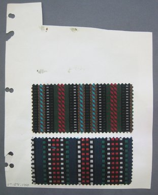 Fab-Tex Inc.. <em>Fabric Swatch</em>, 1963-1966. Cotton, sheet: 8 1/4 x 10 1/2 in. (21 x 26.7 cm). Brooklyn Museum, Gift of Fab-Tex Inc., 67.158.140 (Photo: Brooklyn Museum, CUR.67.158.140.jpg)
