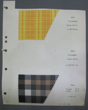 Fab-Tex Inc.. <em>Fabric Swatch</em>, 1963-1966. Cotton, sheet: 8 1/4 x 10 1/2 in. (21 x 26.7 cm). Brooklyn Museum, Gift of Fab-Tex Inc., 67.158.141 (Photo: Brooklyn Museum, CUR.67.158.141.jpg)