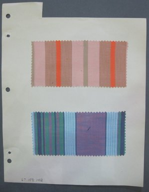 Fab-Tex Inc.. <em>Fabric Swatch</em>, 1963-1966. Cotton, sheet: 8 1/4 x 10 1/2 in. (21 x 26.7 cm). Brooklyn Museum, Gift of Fab-Tex Inc., 67.158.142 (Photo: Brooklyn Museum, CUR.67.158.142.jpg)