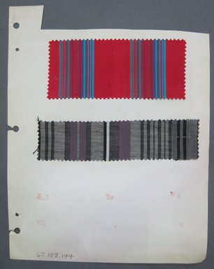 Fab-Tex Inc.. <em>Fabric Swatch</em>, 1963-1966. Cotton, sheet: 8 1/4 x 10 1/2 in. (21 x 26.7 cm). Brooklyn Museum, Gift of Fab-Tex Inc., 67.158.144 (Photo: Brooklyn Museum, CUR.67.158.144.jpg)